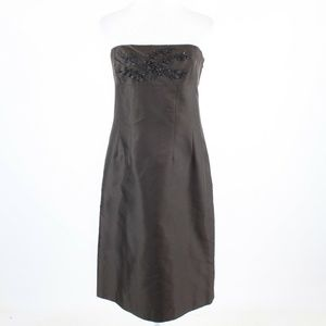 Dark brown beaded embroidered  ANN TAYLOR dress 8